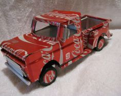 recycled handmade aluminum can 65 Chevy truck Recycling, Recycle Cans, Upcycle, Recycled Metal Art, Recycled Crafts, Recycled Clothing, Recycled Fashion, Bottle Cap Art, Bottle Cap Crafts