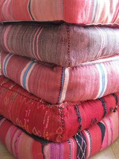 Beautiful cuhsions made from kilim fabric. Available at www.lavieboheme-webshop.nl.