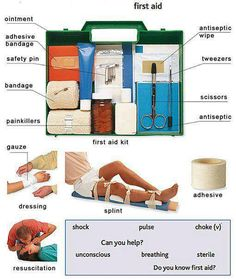 Learn the vocabulary for a first aid kit and injuries