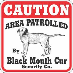 blackmouthcur | Black Mouth Cur Caution Sign | Black Mouth Curs | DogBreedStore.com