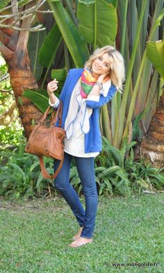 loving the scarf with all the contrast colors
