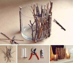 DIY Wood Sticks Candle Holders table deco for rustic wedding Diy Candle Holders, Candlestick Holders, Diy Candles, Candlesticks, Rustic Candles, Candle Jars, Candle Containers, Candle Craft, Floating Candles