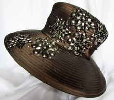 a5a230067b1 Wide Brim Hat Brown Bling Kentucky Derby Large Bead Accents Women Weddings  Sz 7