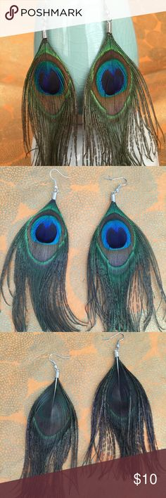 Boho Genuine Peacock Feather Earrings Vibrant boho peacock feather earrings. Earrings are very lightweight, hang from your ears via a hook and are dangly. Gypsy Theory Jewelry Earrings