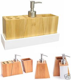 Bamboo wood soap #dispenser #tumbler toothbrush holder 4pc #bathroom accessory se, View more on the LINK: http://www.zeppy.io/product/gb/2/201376255873/