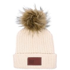 Love Your Melon Natural Beanie with Natural Pom
