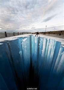 Glacier sidewalk art