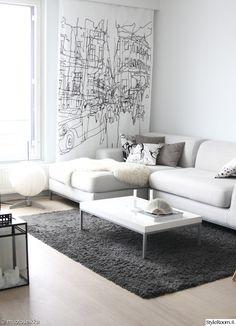 olohuone,skandinaavinen,minimalismi,vaalea,marimekko,talja,valkoinen,kulmasohva,kuvioverho,printti,vaaleat sävyt,koriste-esineet