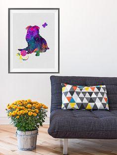 Pug dog Watercolor Print Children's Wall Art Home by MimiPrints