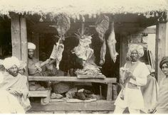 Meat Shop in Market – Kashmir India c1900 – Old Indian Photos