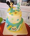 3D Fondant Mickey Mouse, pastel 2 tier first birthday cake #peridotsweets