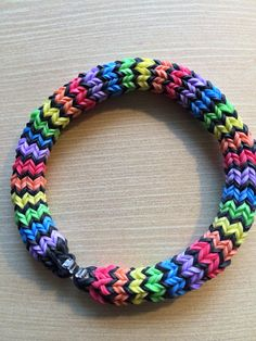 Rainbow Loom - Handmade Rainbow & Black 6 Pin Hexafish - Awesome