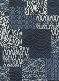 Indigo Wave Patchwork Design (1/2 Yd.)