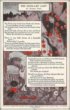 1927 Print and Poem The Rockaby Lady Eugene Field Sleeping Child Black Doll Fairies Vintage 1920s Flipside Wooing Frog