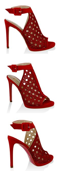 Gorgeous! Red suede peep toe heels with laser-cut holes and ankle strap detail. $139 #MadeinItaly