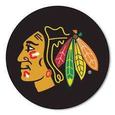 Chicago BlackHawks puck shaped floor mat