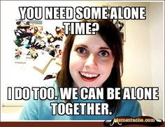 I can't believe I forgot all about the Overly Attached Girlfriend meme! Or how come call it the crazy girlfriend meme. This is a classic meme that will live Clingy Girlfriend, Overly Attached Girlfriend, Girlfriend Meme, Crazy Girlfriend, Obsessed Girlfriend, Call Me Maybe, Sticker Transparent, Funny Memes, Funny Jokes