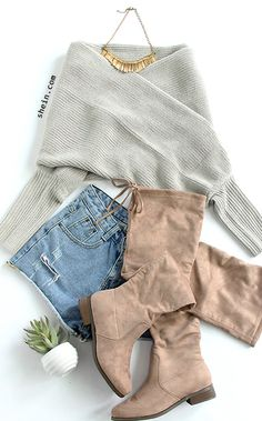 Chic fall style-Grey off shoulder cross wrap sweater outfit.