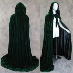 Dark Green Velvet Cloak Lined in Black Satin : Artemisia Designs:, Historical and Fantasy Apparel for the Regular and Plus Size - Renaissance, Medieval, Victorian, Cloaks, and LARP