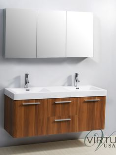 "54"" Midori Double Sink Bathroom Vanity - Plum Wood- An affordable and sleek option with gorgeous wood finish & modern floating design. Integrated sink top."
