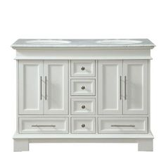 Silkroad Exclusive 48 in. W x 22 in. D Vanity in White Oak with Marble Vanity Top in Carrara White with White Basin at The Home Depot - Mobile 36 Inch Bathroom Vanity, Double Sink Bathroom, Vanity Sink, Bath Vanities, Shared Bathroom, Master Bathroom, Simple Bathroom, Granite Vanity Tops, Marble Vanity Tops