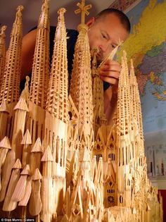 Painstaking: Stan Munro spent a staggering nine months creating this toothpick replica of Barcelona's Sagrada Familia Toothpick Sculpture, Patience, Sculpture Art, Sculptures, Pencil Carving, Pick Art, Nine Months, High School Art, Art Forms