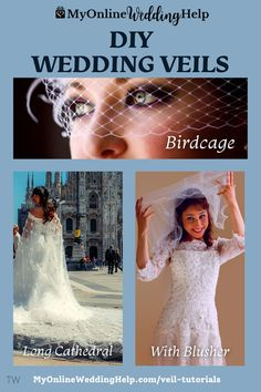 DIY wedding veils. Here's how to make a cathedral veil, birdcage veil, and blusher bridal veil. Also, the long veil tutorial has a removable layer. See all three how-tos on the MyOnlineWeddingHelp.com blog. Diy Wedding Veil, Wedding Gowns, Wedding Ideas, Wedding Crafts, Wedding Photos, Wedding Planning, Blusher, Cathedral, Bridesmaid Dresses