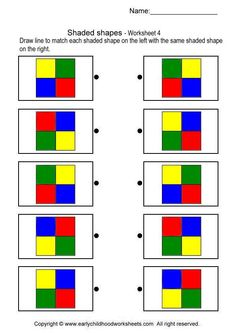 Printable brain teaser worksheets for kids in preschool, kindergarten, grade draw line to match each shaded shape on the left with the same shaded shape on the right. Library Activities, Toddler Learning Activities, Montessori Activities, Kindergarten Activities, Stem Activities, Visual Perception Activities, Math Classroom Decorations, Vision Therapy, Coding For Kids