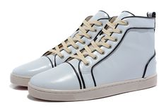 White Louboutin Sneakers Mens Leather Material Black