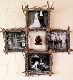 Made from real twigs and bonded with twine, plus plastic inserts to hold photos, this beautiful, rustic collage frame is truly one of a kind. Fill with photographs of the family vacation, or with wedding memories; this frame is sure to be a charming addition to your home.