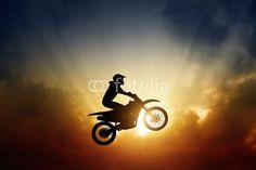 Biker on motorbike