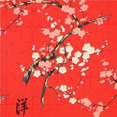 roter Alexander Henry  japanische Blumen Stoff mit Gold 1