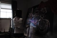 Ingrid Sørensen painting in her atelier Some Girls, Darth Vader, Paintings, Fictional Characters, Atelier, Paint, Painting Art, Painting, Fantasy Characters