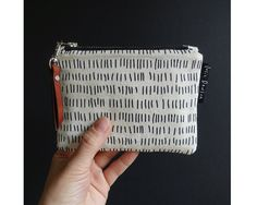 Hand Printed Coin Purse // Zipper Pouch // by JosieDawsonStudio Zipper Pouch, Zip Around Wallet, Coin Purse, Textiles, Trending Outfits, Unique Jewelry, Creative, Handmade Gifts, Fabric