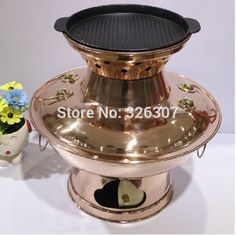 36cm China Sichuan Roast rinse one copper hot pot thickened MongoljEn / Chinese charcoal fondue pot handmade Copper cooking