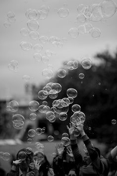 Bubbles: nostalgic for adults.  You're forced to appreciate it while you can.  It's something you literally cannot hold on to very long: punctuation mark to a broader message.