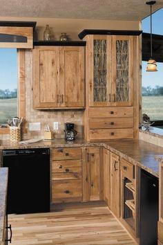 Hickory Cabinets Rustic Kitchen Design Ideas Wood Flooring Pendant Lights