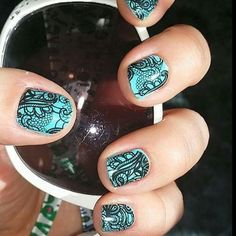 Jamberry Black Lace over polish