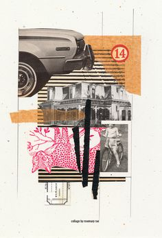 my day 302 collage (neighborhood)  vintage magazine images from 60's and 70's, scrap tissue paper, illos, cut + pasted.  #collage #vintage #paperart