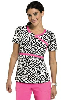 HeartSoul Zebra Crossing print scrub top. - Scrubs and Beyond