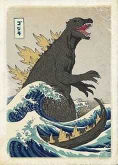 steel canvas Movies & TV godzilla great wave kanagawa japan ocean sea