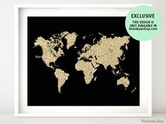 Black and gold glitter world map, no quote