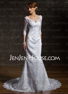 $198 Mermaid V-neck Chapel Train Satin  Lace Wedding Dresses With Lace  Beadwork (002011518)