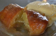 Southern Blondie: Southern Apple Dumplings (the recipe for 2 apples is here:) I did use Red Delicious apples and Sprite:) They are so very delicious! Köstliche Desserts, Delicious Desserts, Dessert Recipes, Yummy Food, Apple Dumpling Recipe, Apple Dumplings, Apple Recipes, Sweet Recipes, Macaron