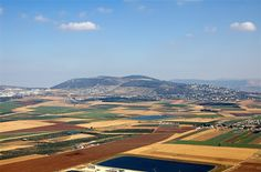 View from Mount Precipice towards the Valley of Jezrael and Mount Gilboa