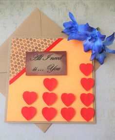handmade all I need is you love card for her anniversary