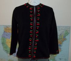 Vintage Black Cardigan Sweater with Cherry by Reneesance on Etsy