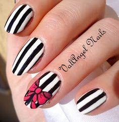 """ValAngel Nails Art: Nail Art """"Black and White Stripes"""""""