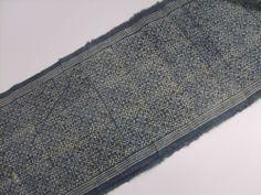 RARE VINTAGE Fabric Batik HEMP HMONG Hill Tribe Indigo Textile Table Runner