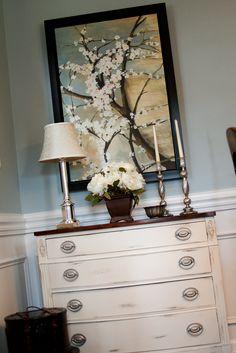 kirklands print and flowers...refinished dresser